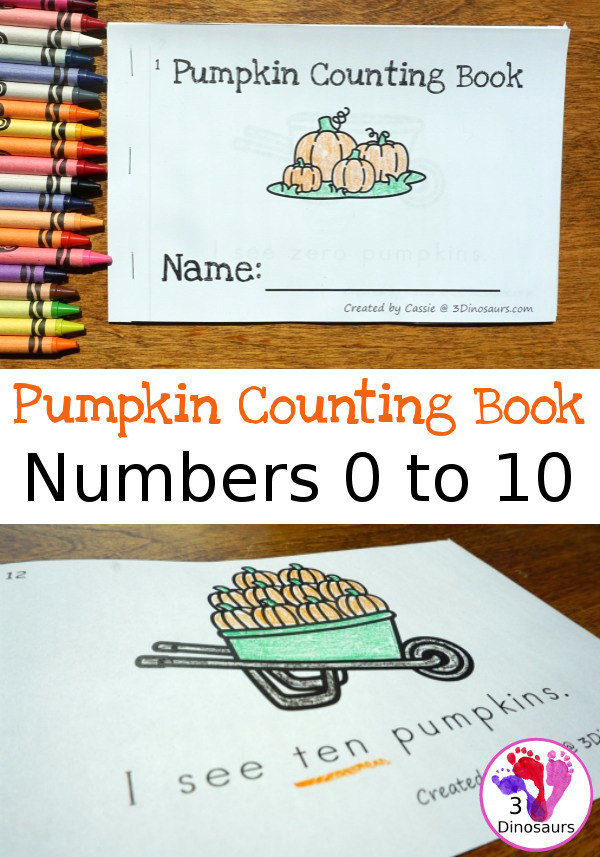 FREE Pumpkin Number Counting Book For Kids - numbers 0 to 10 - 3Dinosaurs.com