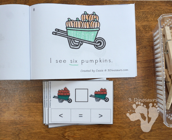 FREE Pumpkin Themed Greater Than Less Than Clip Cards - numbers 0 to 10 - 3Dinosaurs.com