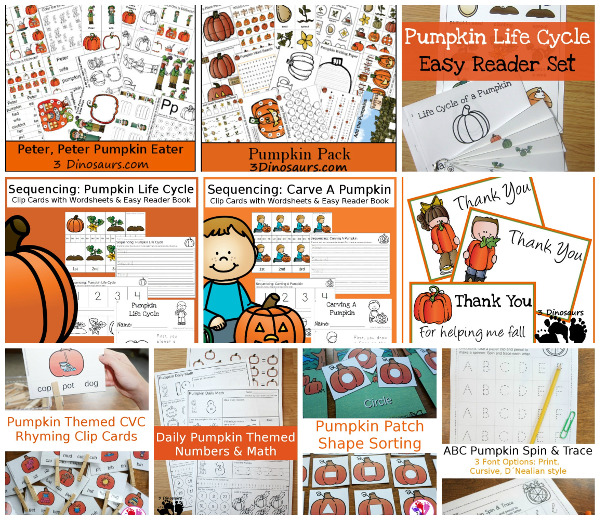 35+ Pumpkin Activities & Printables - loads of printables for themed packs, math, learning to read, abcs and more  - 3Dinosaurs.com