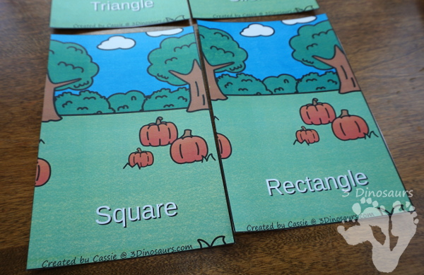 FREE Fun Hands-On Pumpkin Shape Sorting - circle, square, rectangle, and triangle - 3Dinosaurs.com