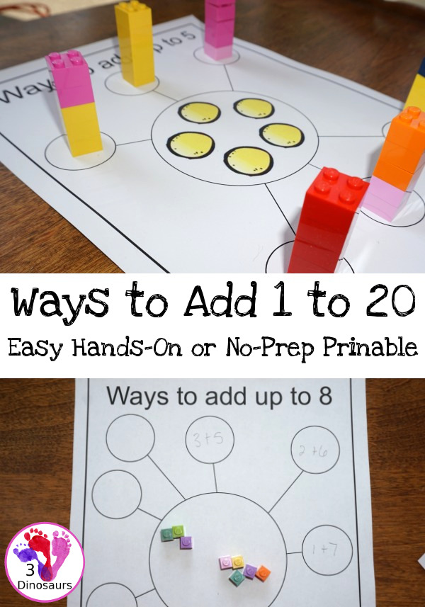 FREE Fun And Easy To Use: Ways To Add Up To 20 - 2 types of printable 44 pages total - 3Dinosaurs.com