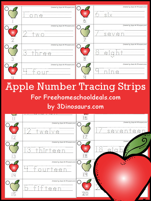 Free Apple Theme Number Tracing Strips - with numbers 1 to 20 - 3Dinosaurs.com
