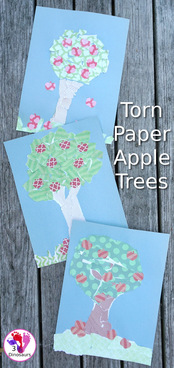 Torn Scrap Book Paper Apple Trees - an easy fine motor activity for kids to make an apple tree - 3Dinosaurs.com