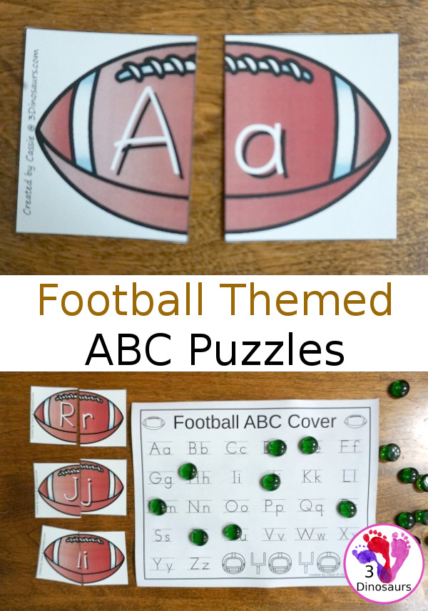 Free Football Themed ABC Puzzles - 26 puzzles with a tracing and covering sheet - 3Dinosaurs.com