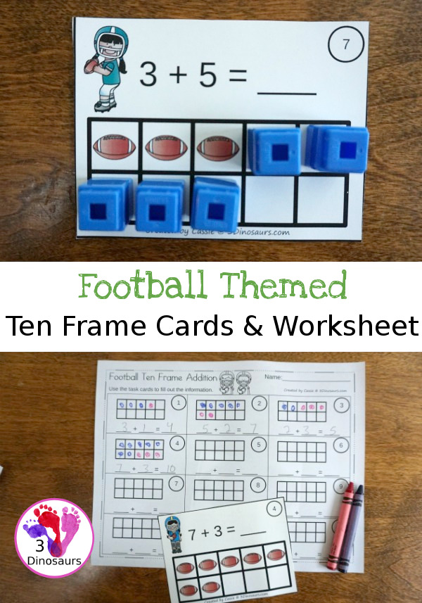 Free Football Ten Frame Addition Cards - 12 cards with recording sheet with two styles of cards - 3Dinosaurs.com