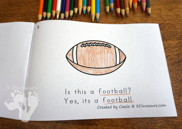 Free Football Theme -ALL Easy Reader Book - an 8 page book with questions answer and answer on each page - 3Dinosaurs.com
