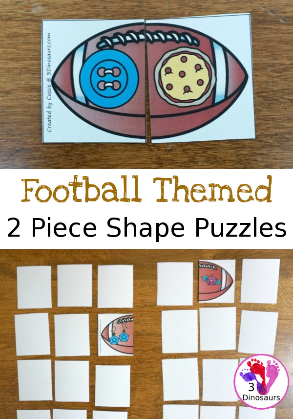Free Football Shape Matching Puzzles - 12 different shapes for kids to match - 3Dinosaurs.com
