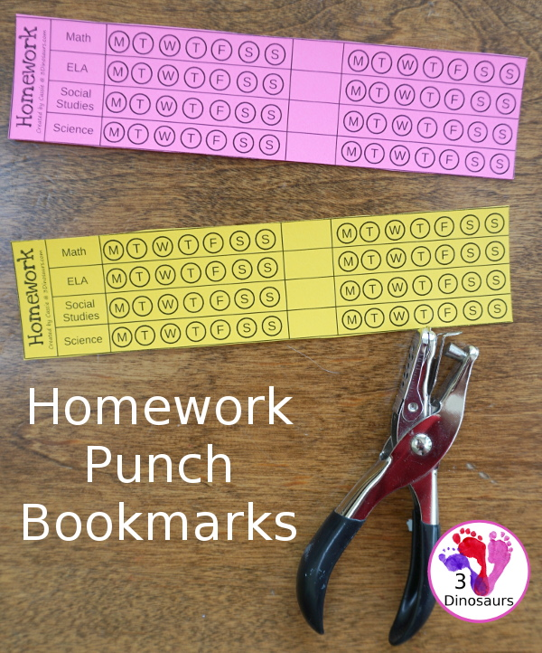 Free Homework Punch Bookmark Cards - 8 subject cards with 4 set 4 spaces to write in the subjects - 3Dinosaurs.com