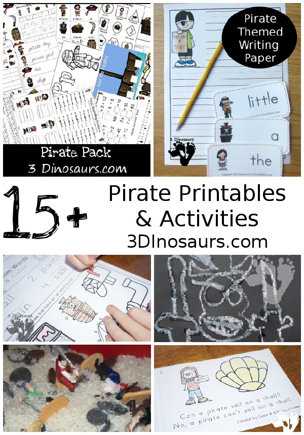 Pirate Activities & Printables on 3 Dinosaurs - 3Dinosaurs.com