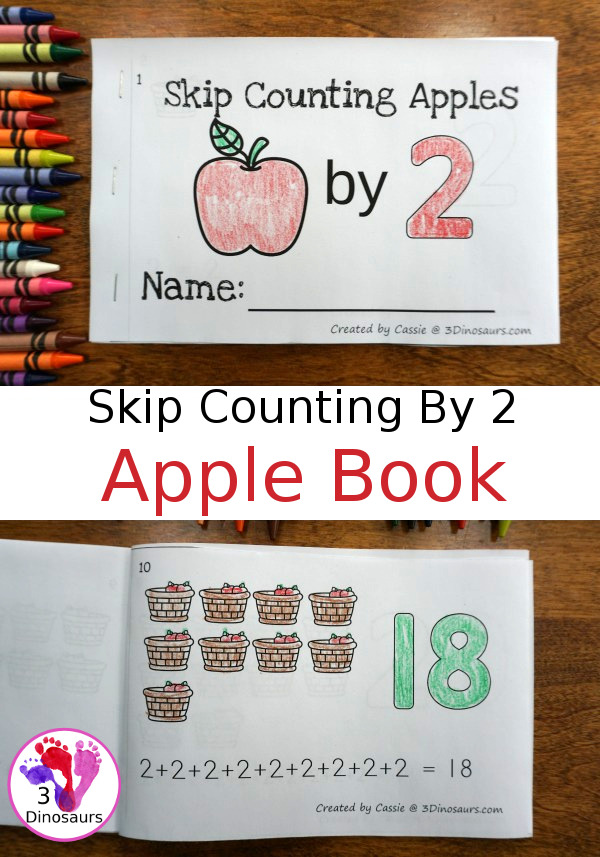 Free Skip Counting by 2 Apple Book - an easy book to work on groups of numbers by 2 - 3Dinosaurs.com