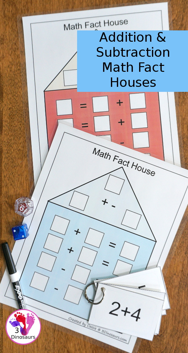 Free Math Fact House Addition & Subtraction - 8 houses with equations in two directions to help those that needs to see the equal sign on either side - 3Dinosaurs.com