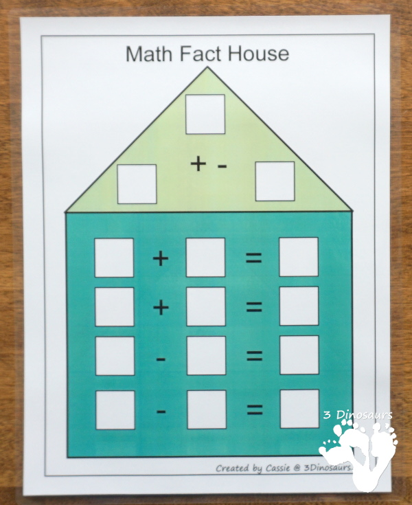 Free Math Fact House Addition & Subtraction - 8 houses with equations in two directions to help those that needs to see the equal sign on either side - 3 Dinosaurs
