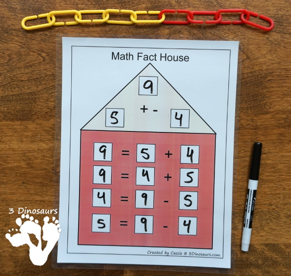 Free Math Fact House Addition & Subtraction - 8 houses with equations in two directions to help those that needs to see the equal sign on either side - 3 Dinosaurs.com