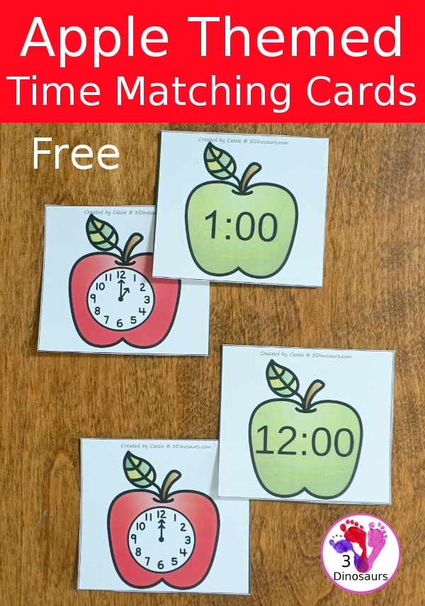 Free Apple Time Matching Cards- 2 matching cards for hourly time from 1 to 12 - 3Dinosaurs.com