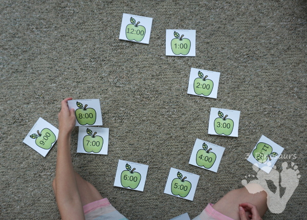 Apple Time Matching Cards- 2 matching cards for hourly time from 1 to 12 - 3Dinosaurs.com
