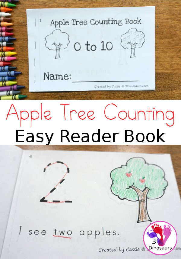 Free Apple Number Counting Book - numbers 0 to 10 in an easy to print easy reader book for kids - 3Dinosaurs.com