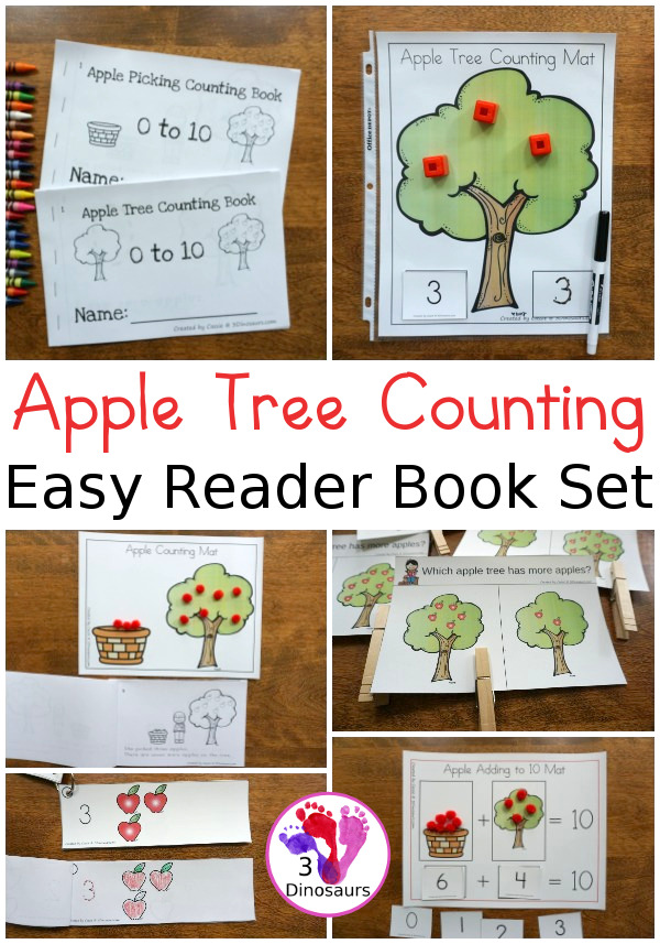 Apple Tree Counting Easy Reader Book Set - numbers 0 to 10 with two books, hands-on activities, clip cards and charts to watch the two counting book options - 3Dinosaurs.com