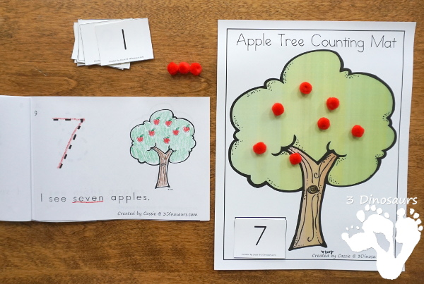 Apple Tree Counting Easy Reader Book Set - numbers 0 to 10 with two books, hands-on activities, clip cards and charts to watch the two book options - 3Dinosaurs.com