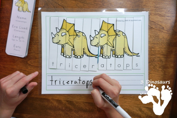 Free Spelling Dinosaurs Names With Dinosaurs Before Dark - a fun way to work on spelling dinosaur names with a fun activity - 3Dinosaurs.com