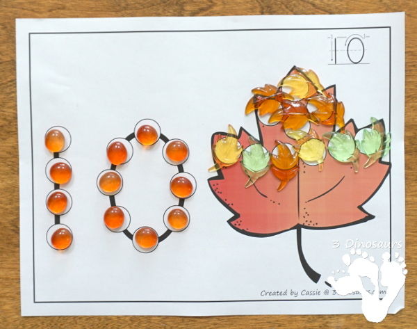 Fall Themed Dot the Number & Count the Dot: Apples, Pumpkins & Leaves - numbers 0 to 20 with dot marker activities for kids to work on numbers and counting with fall themes - 3Dinosaurs.com
