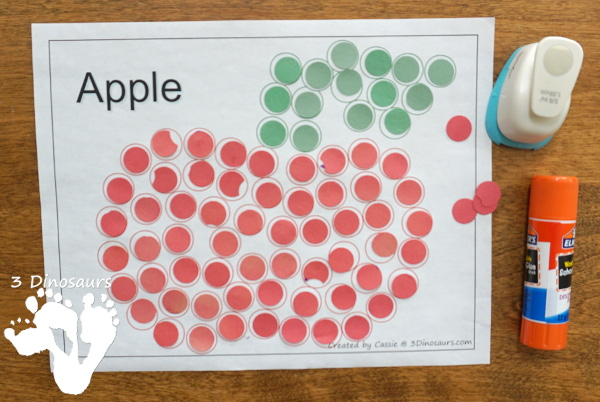 Free Fall Dot Markers: Apple, Leaf & Pumpkin - 2 page options for each of the fall themes - 3Dinosaurs.com