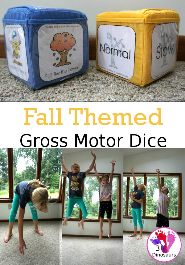 Free Fall Gross Motor Dice - with two dice for movements and speed. They have fall movements for you to use all season. These work great for brain breaks - 3Dinosaurs.com
