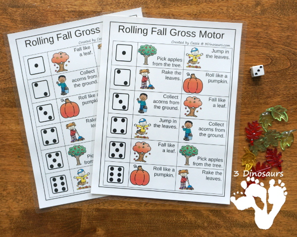 Fall Gross Motor Dice - with dice, rolling dice sheets, and gross motor cards so you can do fun fall movements. - 3Dinosaurs.com