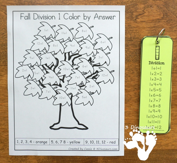 Free Fall Leaves Color by Division - work on division from 1 to 12 with this no-prep printable with a fun fall leaves theme - 3Dinosaurs.com