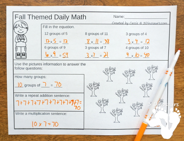 No Prep Fall Themed Multiplication & Division  - 30 pages no-prep printables with a mix of multiplication and division  activities plus a math center activity - 3Dinosaurs.com #noprepmath #tpt #division #multiplication