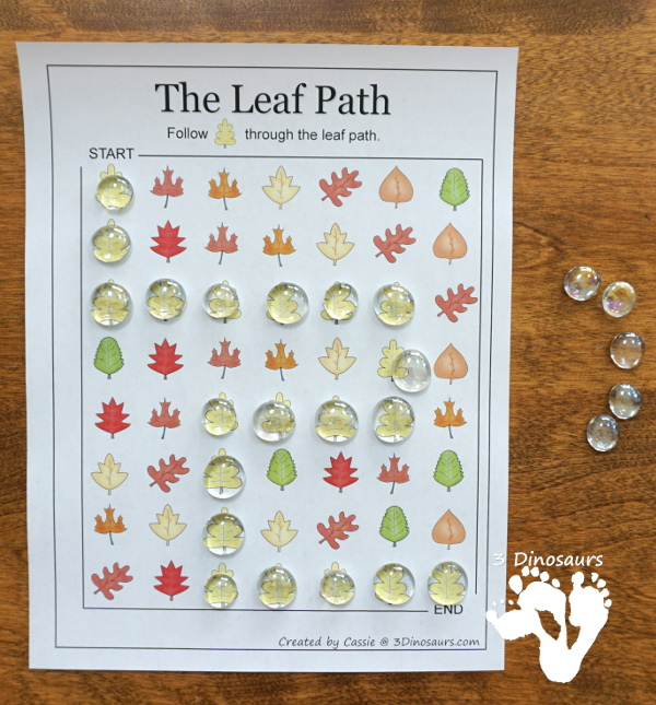 Free Fall Pack for Kindergarten, Preschool and Tot - with a mix of hands-on activities and no-prep with learning fall words and themes with puzzles, cards, prewriting, ABCs, writing and many other activities that go with the book There Was An Old Lady Who Swallowed Some Leaves - 3Dinosaurs.com