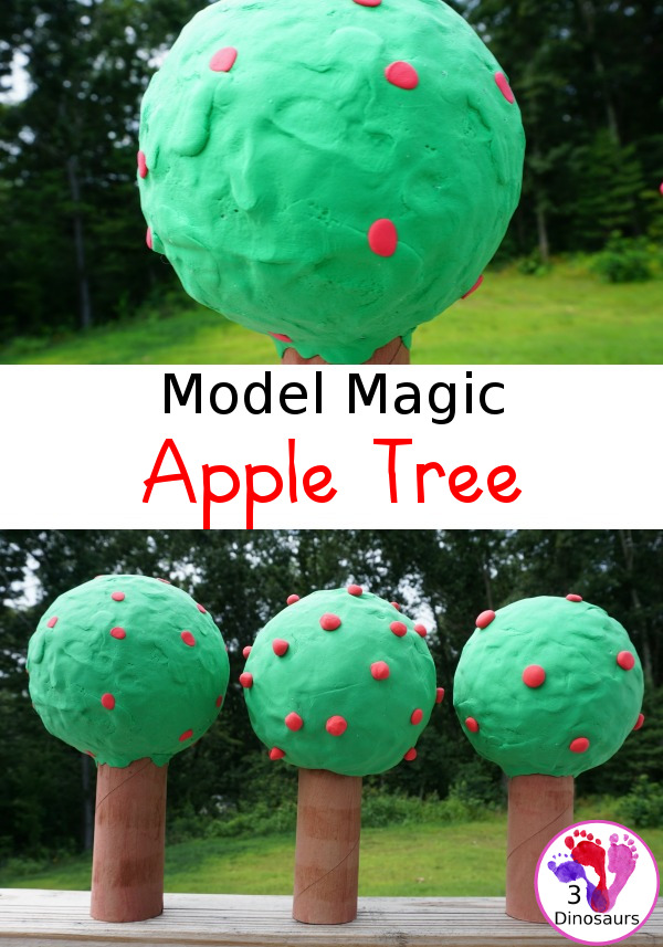 Model Magic Apple Tree - a great fall craft to make for any apple theme plus a fun way to work in fine motor - 3Dinosaurs.com