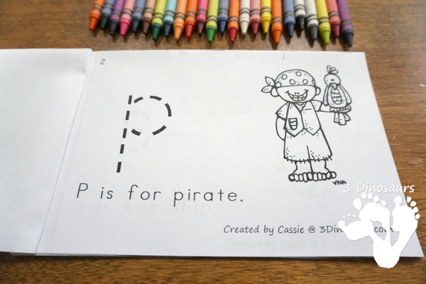 Free Pirate Theme ABC Easy Reader Book - simple 14 page book to use with kids while working on lowercase letters and simple sentence reading - 3Dinosaurs.com