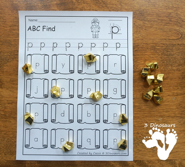 Easy No-Prep Pirate ABC Find - easy no-prep printables with a fun pirate map theme 52 pages with uppercase and lowercase $ - 3Dinosaurs.com