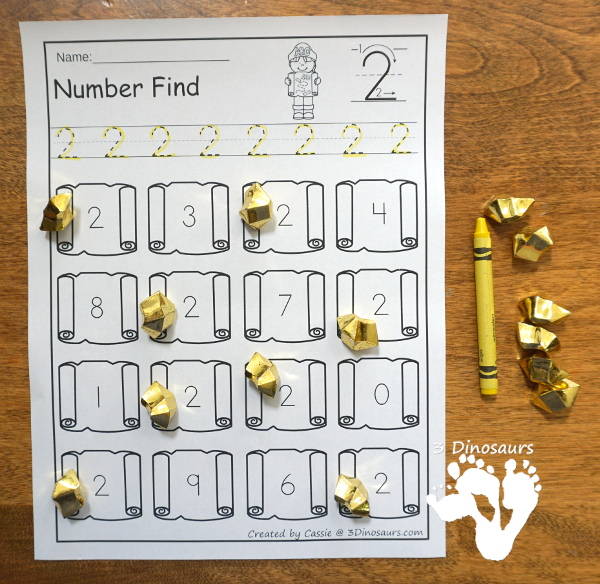 No-Prep Pirate Number find - Numbers 0 to 20 with number digit and number word - 3Dinosaurs.com