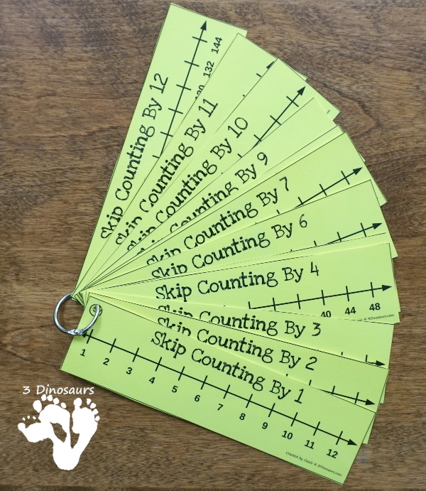 Free Skip Counting Number Line Bookmarks - skip counting number line bookmarks for 1 to 12 or 1 to 15 plus  - 3Dinosaurs.com