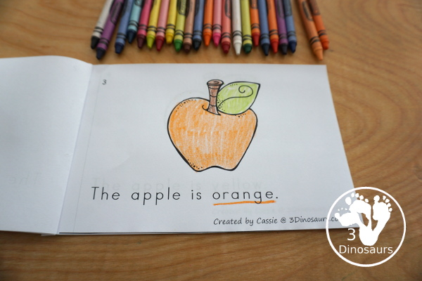 Free Apple Color Easy Reader Book & Clip Cards - 11 colors words in an apple themed book with matching apple themed color clip cards - 3Dinosaurs.com