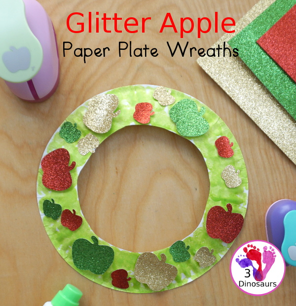 Glitter Apple Wreath for the fall - super easy to make for a fun fall decoration - 3Dinosaurs.com