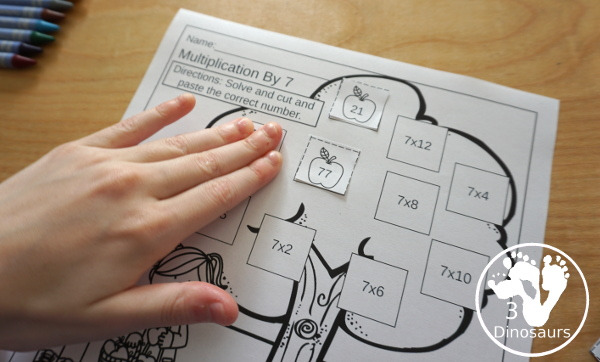 Free Apple Multiplication Cut & Paste - numbers 1 to 12 with 12 pages of printables for kids to work on matching multiplication - 3Dinosaurs.com