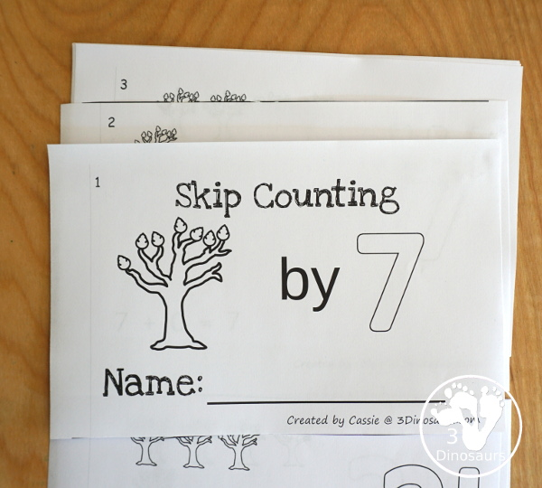 Free Fall Tree Skip Counting by 7 Easy Reader Book - a fun easy reader book for kids to work on skip counting with leaves by 7s - 3Dinosaurs.com