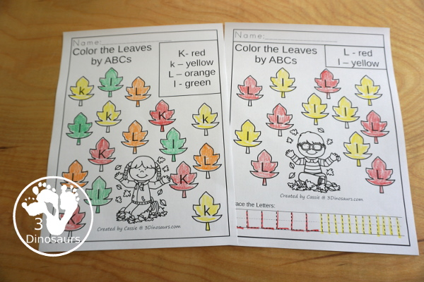 Leaf Activities Pack: No-Prep ABC Letter Coloring Pages- with all 26 letters of the alphabet with two types of pages with mix of letter to find and color or single letter per page with uppercase and lowercase letters - 3Dinosaurs.com