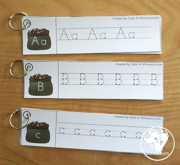 Leaf Activities Pack: Leaf Themed ABC Tracing Strips - has all 26 letters of the alhpabet with three variations with uppercase and lowercase, uppercase only and lowercase only - 3Dinosaurs.com