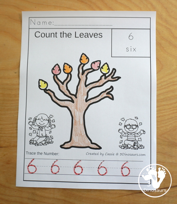 Leaf Activities Pack: Leaf Themed No-Prep Number Letter Coloring Pages - with numbers 0 to 10 with each page having counting and tracing - 3Dinosaurs.com