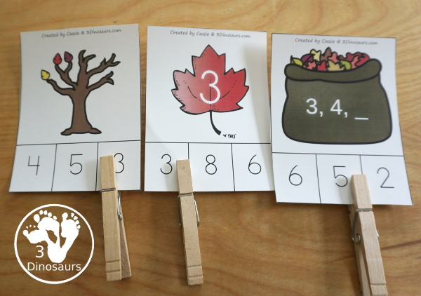 Leaf Activities Pack: Leaf Themed Number Clip Cards - with numbers 0 to 10 with 4 different options for clip cards - 3Dinosaurs.com
