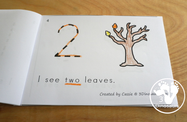 Leaf Activities Pack: Leaf Themed Number Easy Reader Book - with numbers 0 to 10 in a 12 pages book - 3Dinosaurs.com