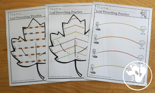 Leaf Activities Pack: Leaf Themed Prewriting Printables - three types of prewriting pages for kids to use with a leaf theme - 3Dinosaurs.com