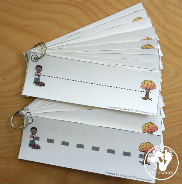 Leaf Activities Pack: Leaf Themed Prewriting Tracing Strips - two types of prewriting tracing strips.- 3Dinosaurs.com