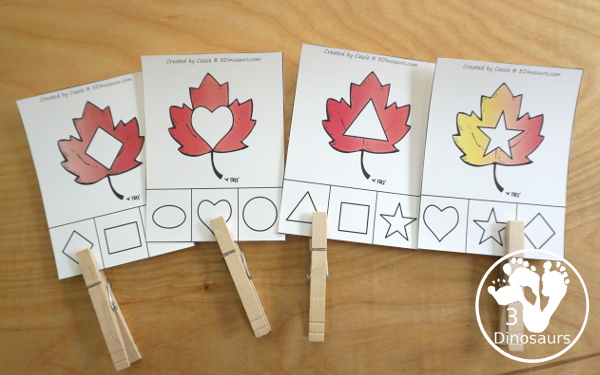 Leaf Activities Pack: Leaf Themed Shape Clip Cards - with 9 shapes to clip and match with fun leaf colors - 3Dinosaurs.com
