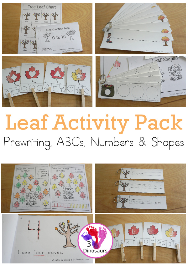 Leaf Activities Pack:  Prewriting Shapes, ABCs & Numbers with no-prep pages, easy reader books, clip cards and tracing strips.- 3Dinosaurs.com
