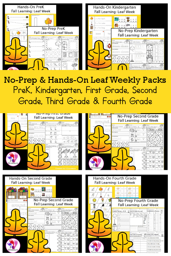 No-Prep & Hands-On Leaf Themed Weekly Packs for PreK, Kindergarten, First Grade, Second Grade, Third Grade & Fourth Grade with 5 days of activities to do for each grade level - 3Dinosaurs.com