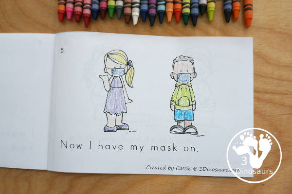 Free How to Wear a Mask Easy Reader Book - shows the steps for putting on a mask - 3Dinosaurs.com